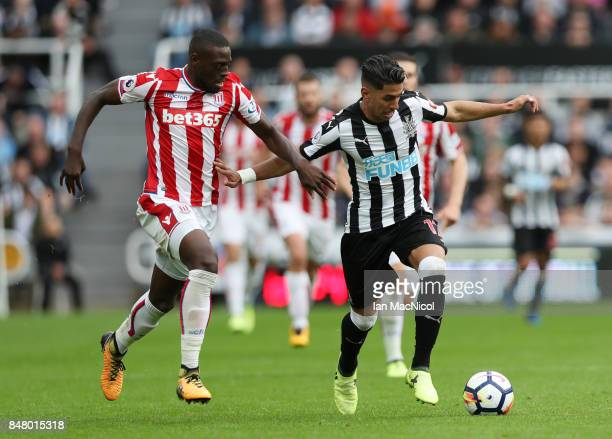 Bruno Martins Indi of Stoke City vies with Ayoze Perez of Newcastle United during the Premier League match between Newcastle United and Stoke City at...