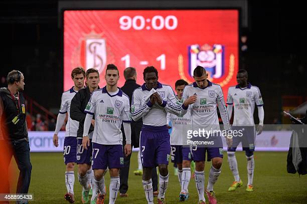Bruno Massimo of Rsc Anderlecht Fabrice N'Sakala of Rsc Anderlecht Aleksandar Mitrovic of Rsc Anderlecht during the Jupiler League match between...