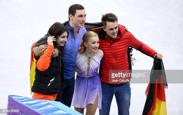 Bruno Massot with his girlfriend Sophie Levaufre Aljona Savcheko and husband Liam Cross pose after winning for Germany the gold medal following the...