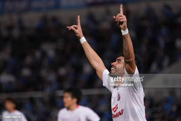 Bruno Mendes of Celezo Osaka celebrates scoring his team's second goal during the J.League Meiji Yasuda J1 match between Yokohama FC and Cerezo Osaka...