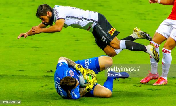 Bruno Mendez and Cassio of Corinthians fight for the ball during the match between Internacional and Corinthians as part of Brasileirao Series A 2020...