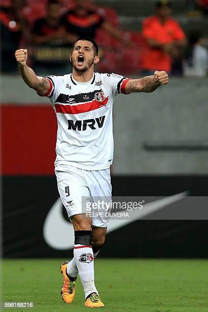 Bruno Moraes of Brazilian Santa Cruz celebrates his goal against Brazilian Sport Recife during a Sudamericana Cup football match in Recife Brazil on...