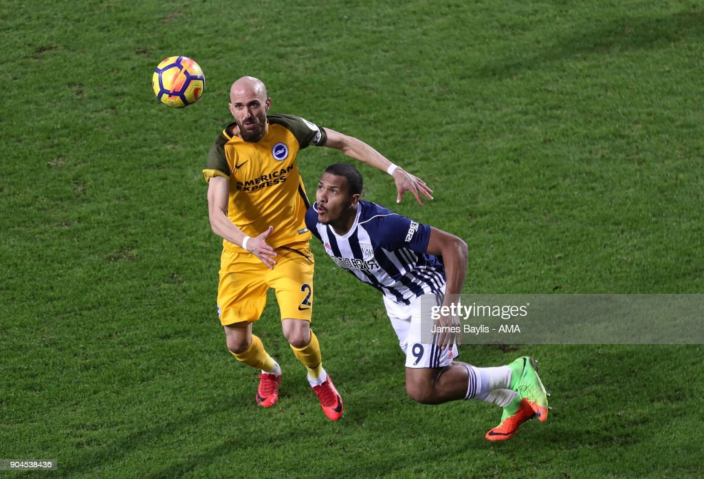 Bruno of Brighton and Hove Albion and Salomon Rondon of West Bromwich Albion during the Premier League match between West Bromwich Albion and Brighton and Hove Albion at The Hawthorns on January 13, 2018 in West Bromwich, England.