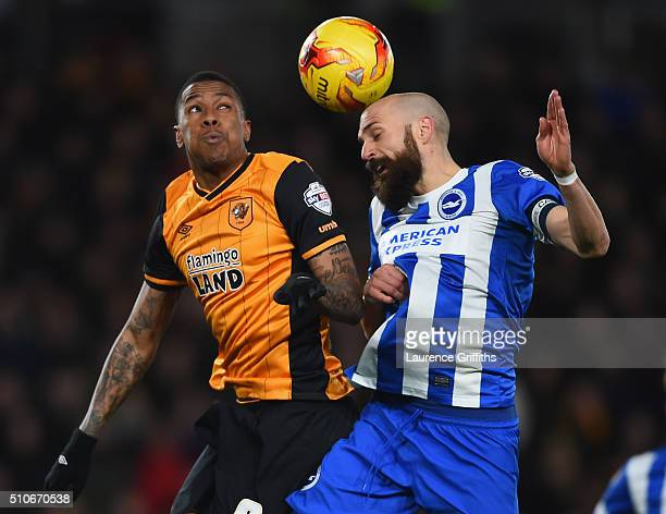 Bruno of Brighton and Hove Albion battles with Abel Hernandez of Hull City during the Sky Bet Championship match between Hull City and Brighton and...
