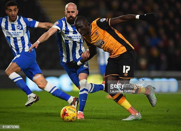 Bruno of Brighton battles with Mo Diame of Hull City during the Sky Bet Championship match between Hull City and Brighton and Hove Albion at KC...