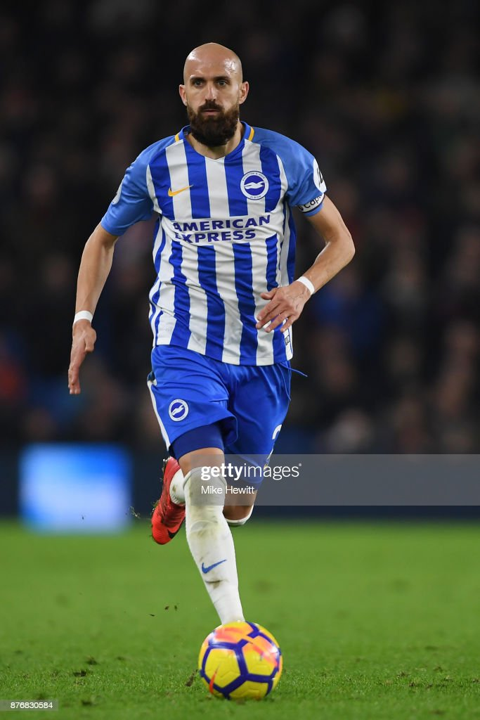 Bruno of Brighton in action during the Premier League match between Brighton and Hove Albion and Stoke City at Amex Stadium on November 20, 2017 in Brighton, England.