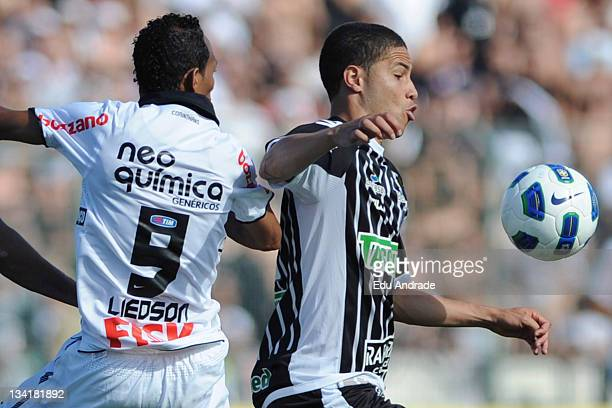 Bruno of Figueirense and Liedson of Corinthians during the match between Corinthians Figueirense and as part of round 37 of the Serie A Brazil in...