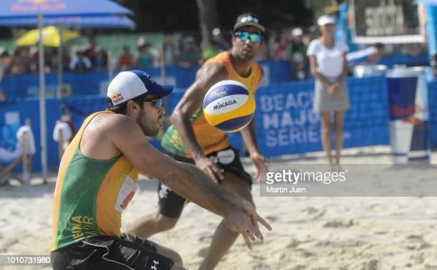 Bruno Oscar Schmidt of Brazil competes during match im the men's round of 16 between Predo Solberg Salgado of Brazil and Bruno Oscar Schmidt of...