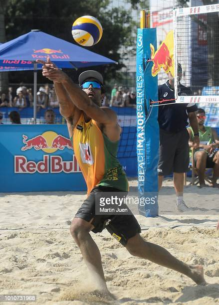 Bruno Oscar Schmidt of Brazil plays the ball backwars during match im the men's round of 16 between Predo Solberg Salgado of Brazil and Bruno Oscar...