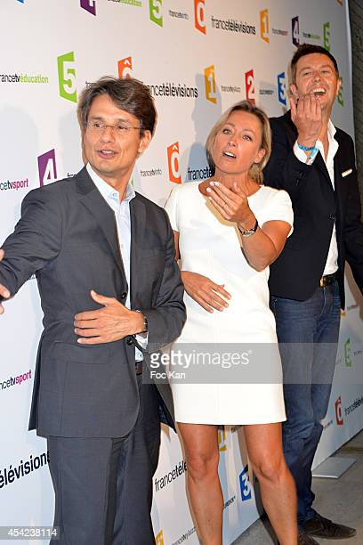 Bruno Patino Anne Sophie Lapix and a guest attend the 'Rentree de France Televisions' at Palais De Tokyo on August 26 2014 in Paris France