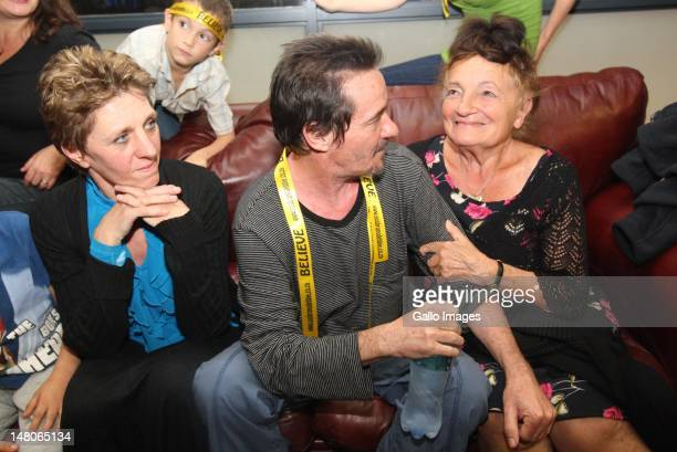 Bruno Pelizzari and Deborah Calitz with Bruno Pelizzari's mother after their arrival at King Shaka International Airport on July 7 2012 in Durban...