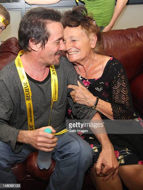 Bruno Pelizzari and his mother after his arrival at King Shaka International Airport on July 7 2012 in Durban South Africa Bruno Pelizzari and Debbie...
