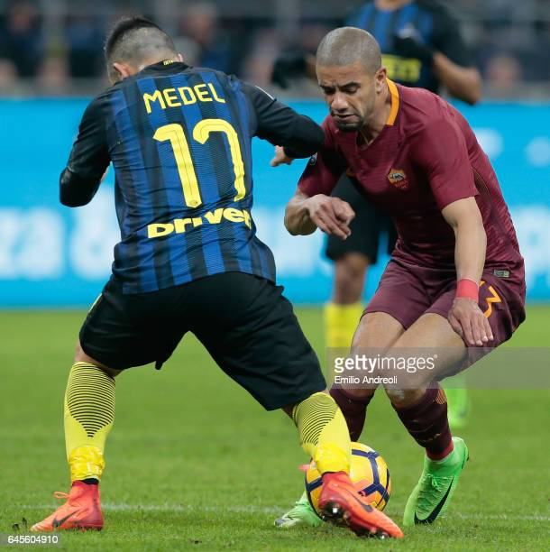 Bruno Peres of AS Roma challenges for the ball with Gary Alexis Medel of FC Internazionale Milano during the Serie A match between FC Internazionale...