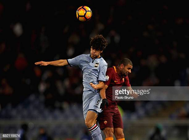 Bruno Peres of AS Roma competes for the ball with Dodo' of UC Sampdoria during the TIM Cup match between AS Roma and UC Sampdoria at Stadio Olimpico...