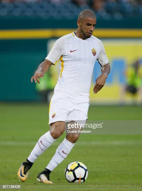 Bruno Peres of AS Roma controls the ball against Paris SaintGermain during the first half at Comerica Park on July 19 2017 in Detroit Michigan