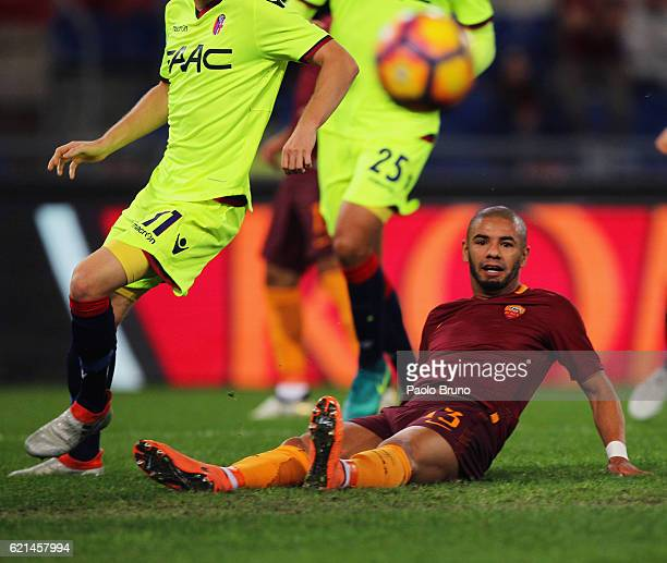 Bruno Peres of AS Roma in action during the Serie A match between AS Roma and Bologna FC at Stadio Olimpico on November 6 2016 in Rome Italy