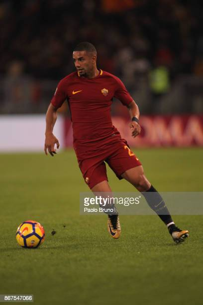 Bruno Peres of AS Roma in action during the Serie A match between AS Roma and Bologna FC at Stadio Olimpico on October 28 2017 in Rome Italy