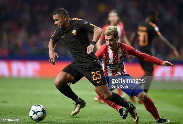 Bruno Peres of AS Roma in action during the UEFA Champions League group C match between Atletico Madrid and AS Roma at Wanda Metropolitano on...