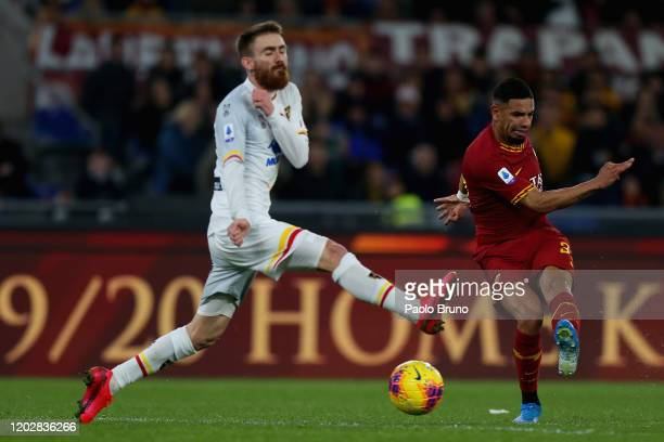 Bruno Peres of AS Roma kicks the ball during the Serie A match between AS Roma and US Lecce at Stadio Olimpico on February 23 2020 in Rome Italy
