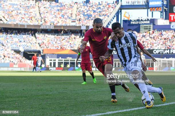 Bruno Peres of Roma and Alex Sandro of Juventus in action during the International Champions Cup 2017 match between AS Roma and Juventus at Gillette...