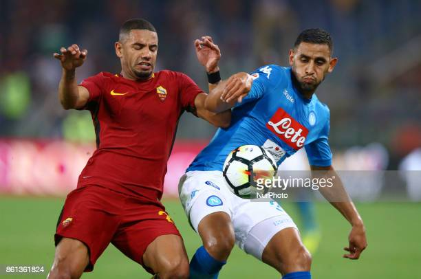 Bruno Peres of Roma and Faouzi Ghoulam of Napoli during the Italian Serie A football match AS Roma vs Napoli at the Olympic Stadium in Rome on...