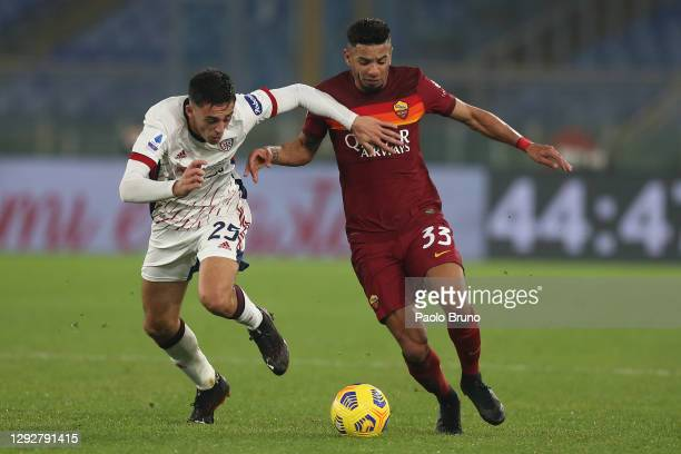 Bruno Peres of Roma battles for possession with Gabriele Zappa of Cagliari during the Serie A match between AS Roma and Cagliari Calcio at Stadio...