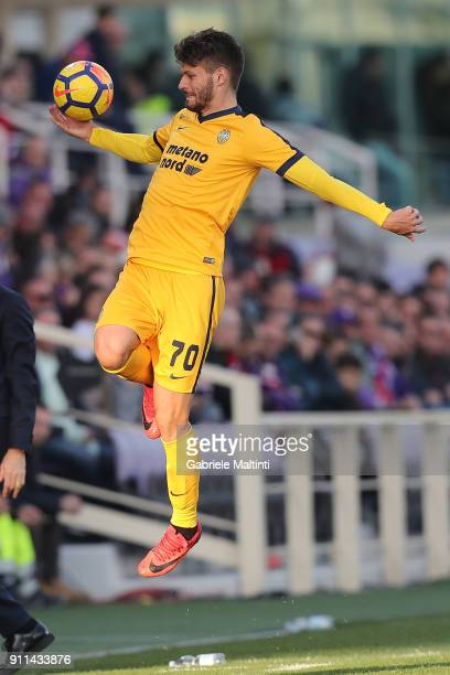 Bruno Petkovic of Hellas Verona FC in action during the serie A match between ACF Fiorentina and Hellas Verona FC at Stadio Artemio Franchi on...