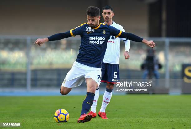 Bruno Petkovic of Hellas Verona in action during the serie A match between Hellas Verona FC and FC Crotone at Stadio Marc'Antonio Bentegodi on...