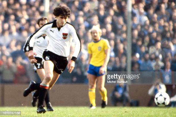 Bruno Pezzey of Austria during the World Cup match between Austria and Sweden at Jose Amalfitani Buenos Aires Argentina on June 7th 1977