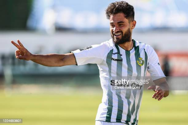 Bruno Pirri of Vitoria FC celebrates after scoring the second goal of his team during the Liga Nos match berween Vitoria FC and Pacos de Ferreira at...