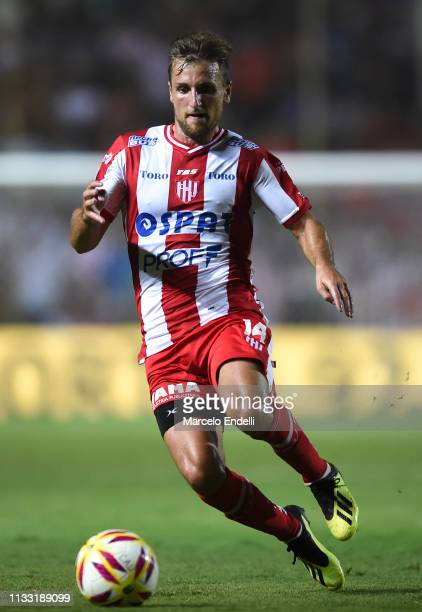 Bruno Pitton of Union drives the ball during a match between Union and Boca Juniors as part of Superliga 2018/19 at Estadio 15 de abril on March 01...