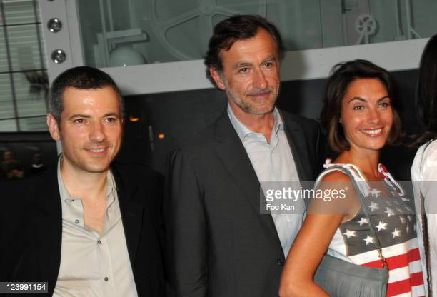 Bruno Putzulu Christophe Malavoy and Alessandra Sublet attend the Fabien Chalon Le Monde En Marche Animated Sculpture Installation Preview Cocktail...