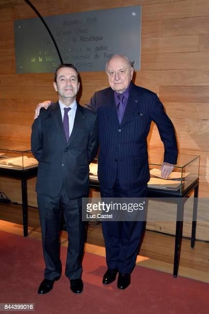 Bruno Racine and Pierre Berge attend the Dinner to benefit the collections of the 'Bibliotheque Nationale de France' on October 14 2013 in Paris...