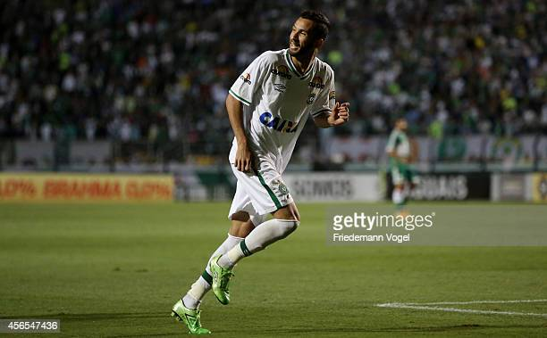 Bruno Rangel of Chapecoense celebrates scoring the first goal during the match between Palmeiras and Chapecoense for the Brazilian Series A 2014 at...