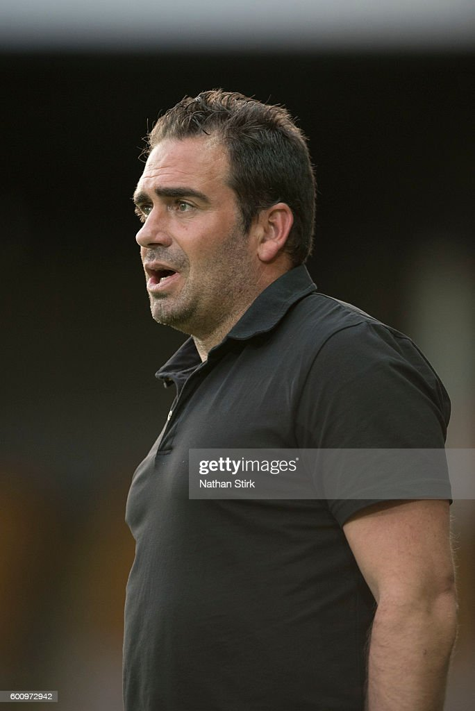Bruno Ribeiro, manager of Port Vale looks on during the Pre-Season Friendly between Port Vale and Birmingham City at Vale Park on July 27, 2016 in Burslem, England.