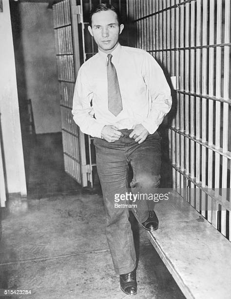 Bruno Richard Hauptmann now under sentence of death in the electric chair for the murder of Charles A Lindbergh Jr posed for the cameraman today in...