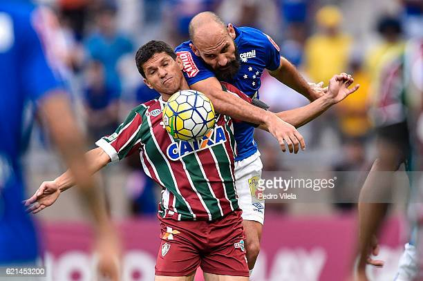 Bruno Rodrigo of Cruzeiro and Magno Alves of Fluminense battle for the ball during a match between Cruzeiro and Fluminense as part of Brasileirao...
