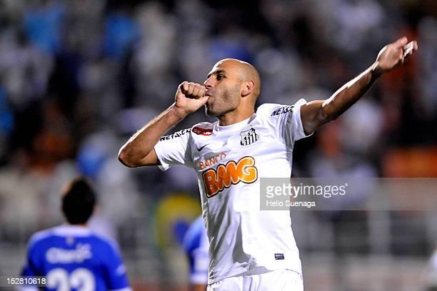 Bruno Rodrigo of Santos celebrates a scored goal during a match between Santos and Universidad de Chile as part of the Recopa Sudamericana 2012 at...