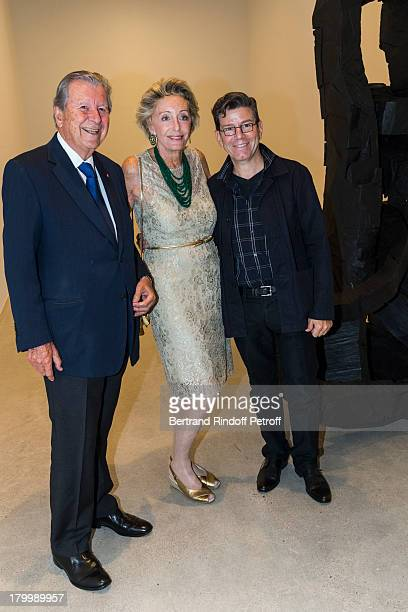 Bruno Roger Ariane Dandois and Robert Carsen attend the Georg Baselitz exhibition preview and dinner at Thaddeus Ropac Gallery on September 7 2013 in...