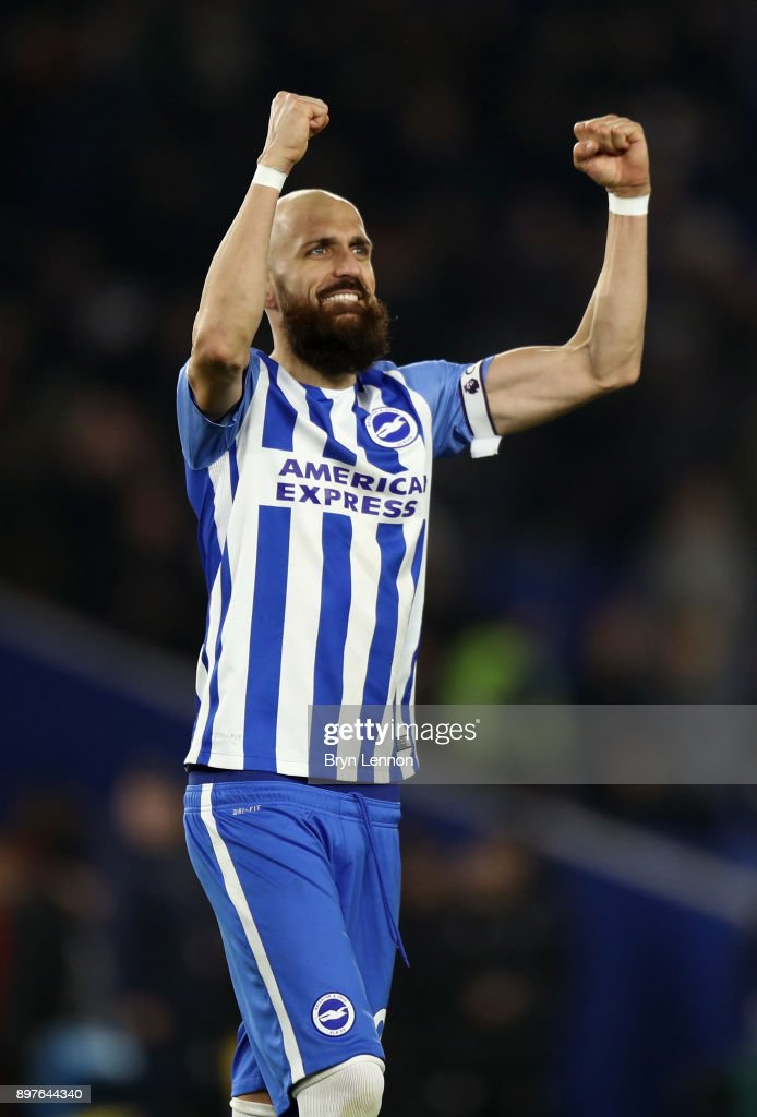 Bruno Saltor of Brighton and Hove Albion celebrates victory after the Premier League match between Brighton and Hove Albion and Watford at Amex Stadium on December 23, 2017 in Brighton, England.