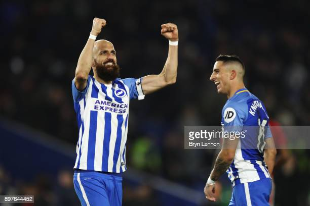 Bruno Saltor of Brighton and Hove Albion celebrates victory after the Premier League match between Brighton and Hove Albion and Watford at Amex...