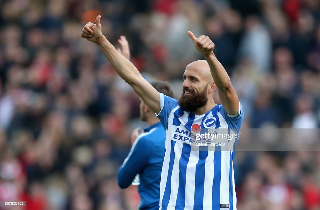 Bruno Saltor of Brighton and Hove Albion salutes the crowd after the Premier League match between Brighton and Hove Albion and Southampton at Amex Stadium on October 29, 2017 in Brighton, England.