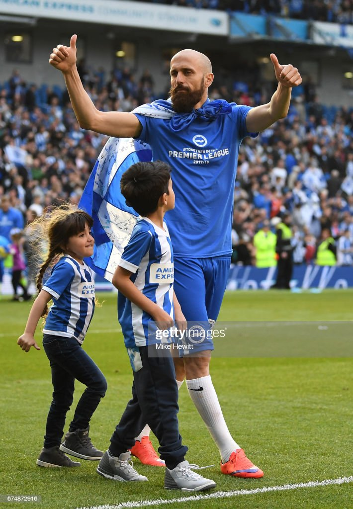 Bruno Saltor of Brighton and Hove Albion salutes the fans after the Sky Bet Championship match between Brighton & Hove Albion and Bristol City at Amex Stadium on April 29, 2017 in Brighton, England.