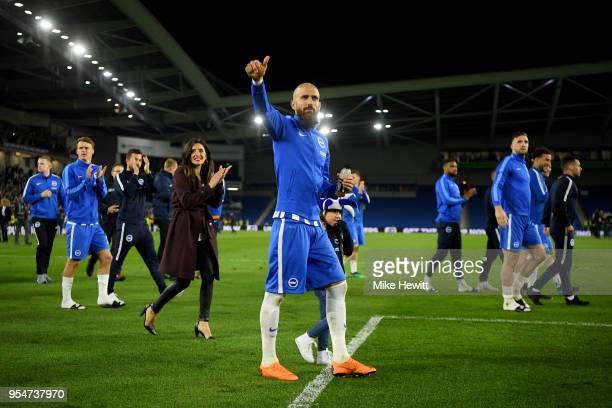 Bruno Saltor of Brighton Hove Albion celebrates with teammates on the pitch after the Premier League match between Brighton and Hove Albion and...