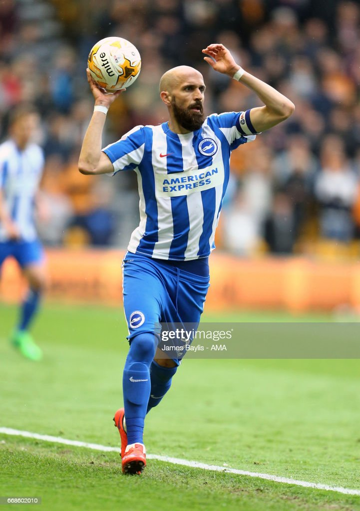 Bruno Saltor of Brighton & Hove Albion during the Sky Bet Championship match between Wolverhampton Wanderers and Brighton & Hove Albion at Molineux on April 15, 2017 in Wolverhampton, England.