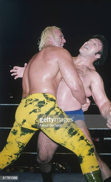 Bruno Sammartino a professional wrestler gets squeezed by his opponent. Sammartino held the World Wrestling Federation Championship for more than...