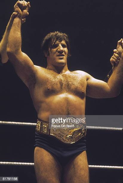 Bruno Sammartino a professional wrestler has his hand raised in victory after a match. Sammartino held the World Wrestling Federation Championship...