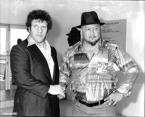 Bruno Sammartino, International Heavyweight Wrestling Champion, pictured with his challenger, Prof. Toru Tanaka, at Sydney's T.A.A. Terminal, after...