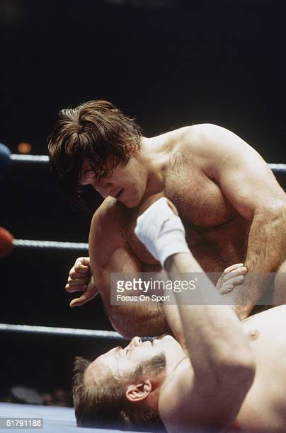 Bruno Sammartino wrestles and his pinned to the floor by an opponent. Sammartino held the World Wrestling Federation Championship for more than...