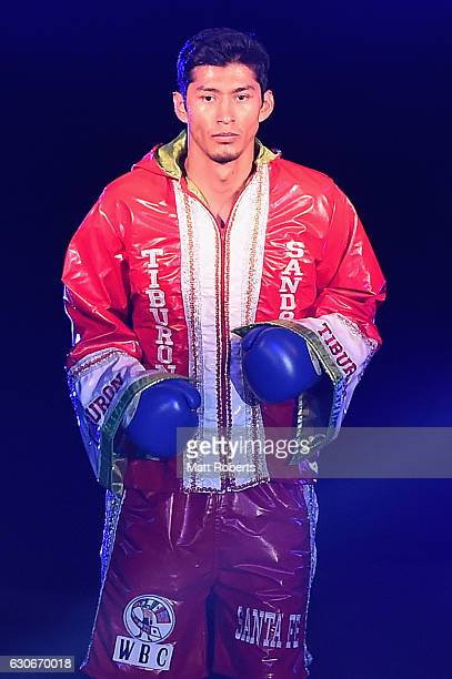 Bruno Sandoval enters the arena before the nontitle bout between Ryota Murata and Bruno Sandoval at the Ariake Colosseum on December 30 2016 in Tokyo...